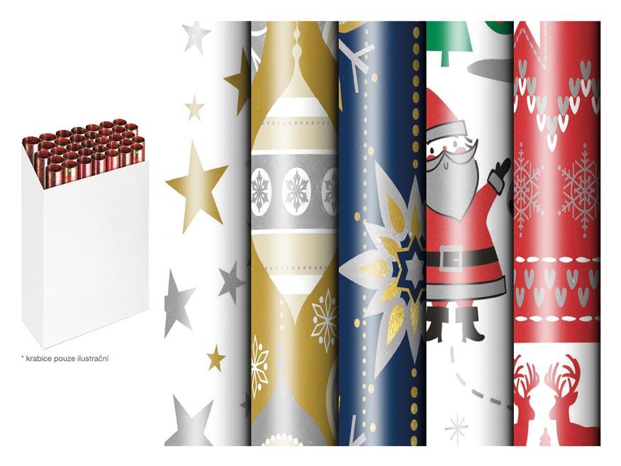 baliaci papier vianočný rolky 150x70 fólia metalická mix 5811570