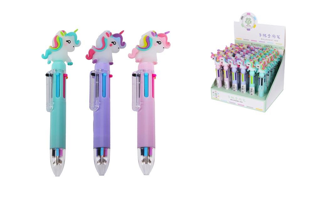 Pero  W011349 s ozdobou viacfarebné (6barev) Jednorožec