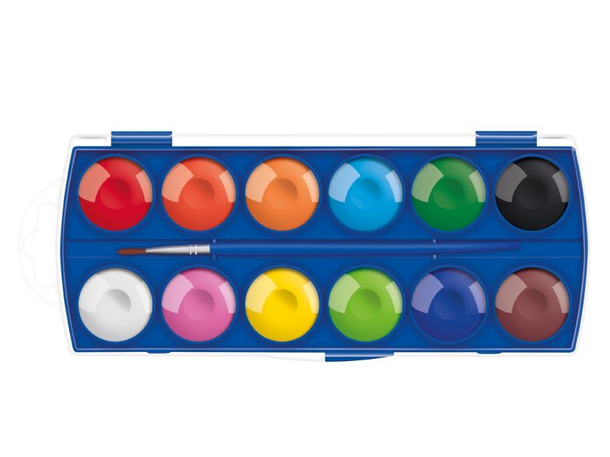 Farby vodové 12 farieb 30mm škatuľka