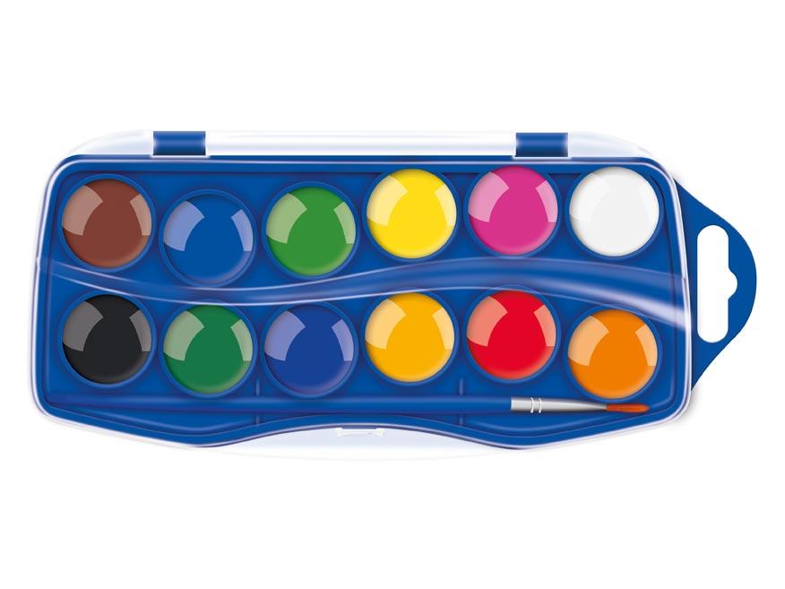 Farby vodové 12 farieb 23mm škatuľka