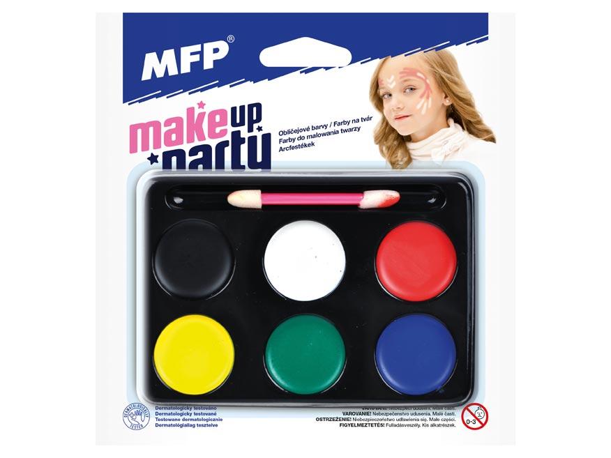 Farby na tvár so štetcom - 6 farieb