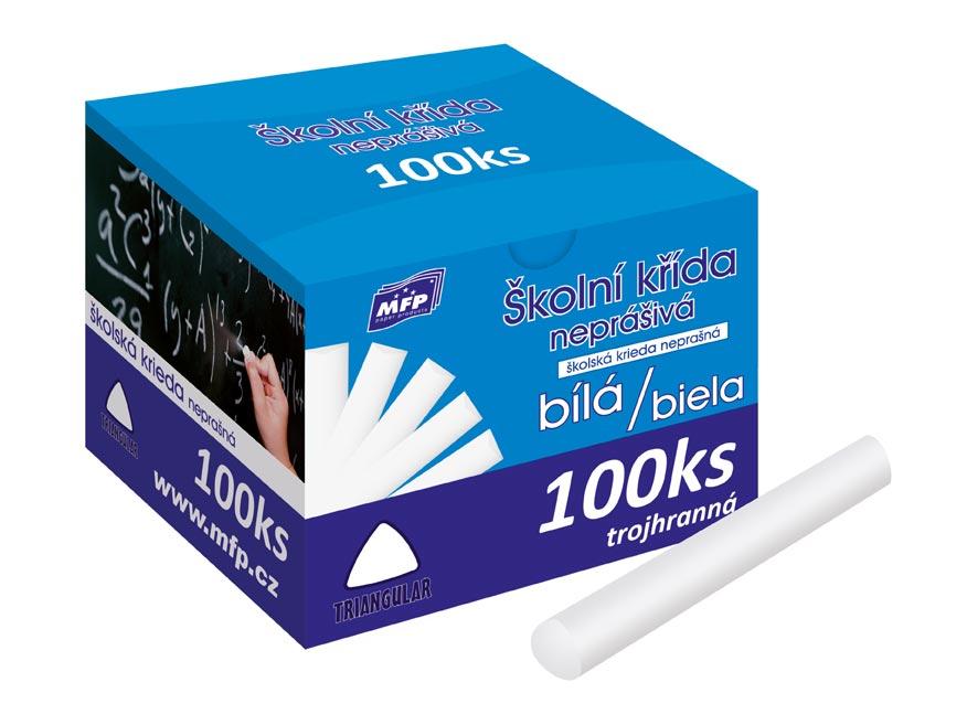 Kriedy M biela trojhranná 100ks v krabičke neprašné