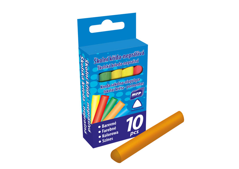 Kriedy M farebná trojhronná 10 farieb v krabičke neprašné