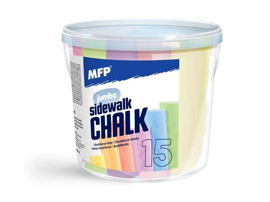 Kriedy M chodníkové okrúhle 15ks mix farieb - vedierko