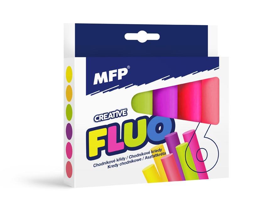 Kriedy M chodníkové fluo guľaté 6ks mix farieb - škatuľka