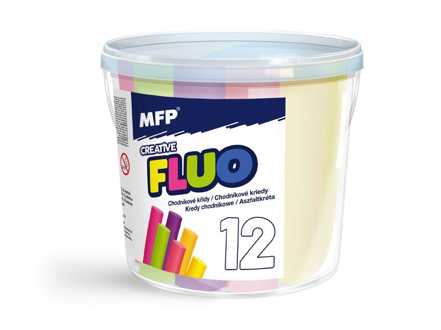 Kriedy M chodníkové fluo guľaté 12ks mix farieb - kýblik