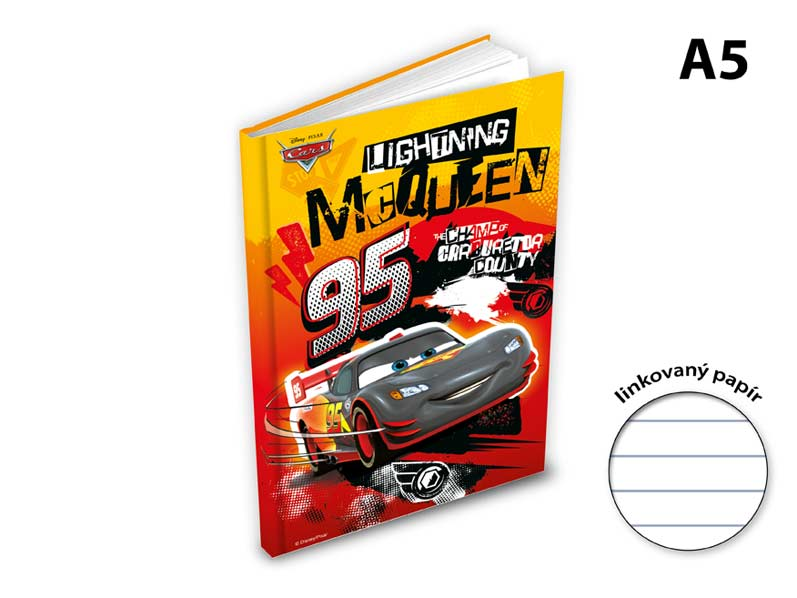 záznamová kniha A5 100l/linka ZL5104- Y05 Disney (Cars) 7500847