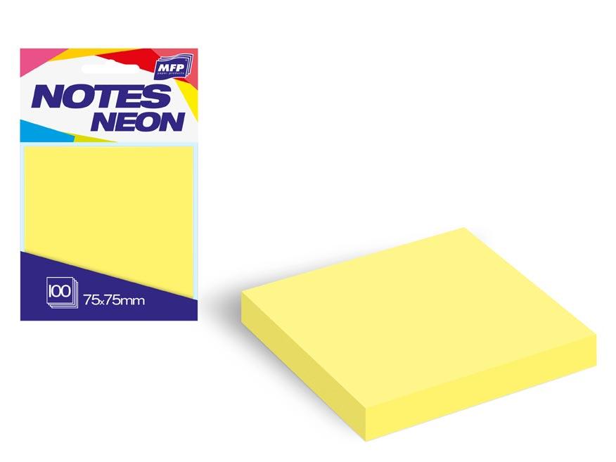 Bloček samolepiaci 75x75mm 100 listov žltý neón