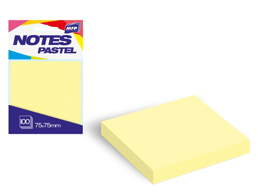 bloček samolepiaci 75x75mm 100 listov žltý pastelový 7500894