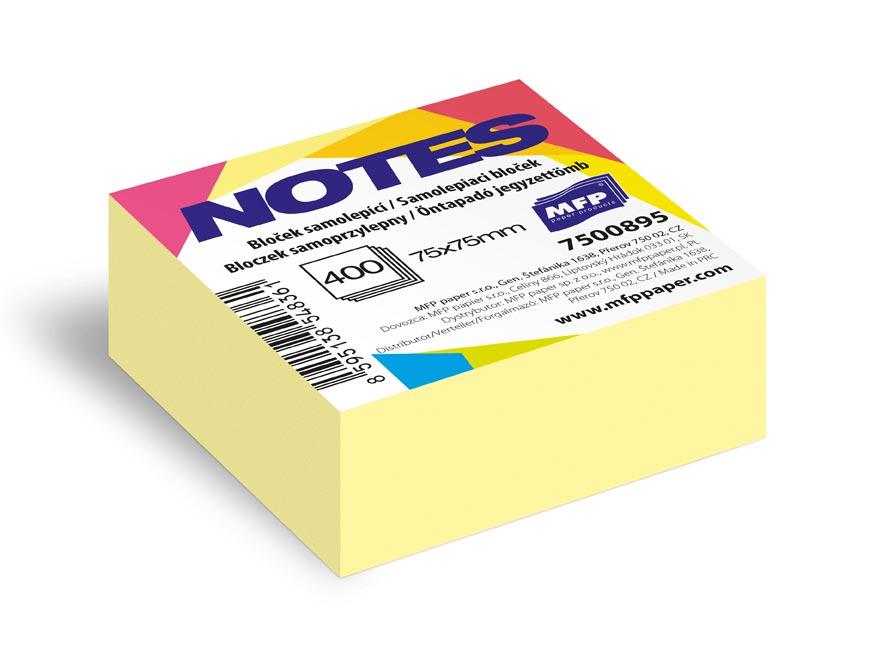 bloček samolepiaci 75x75mm 400 listov žltý pastelový 7500895