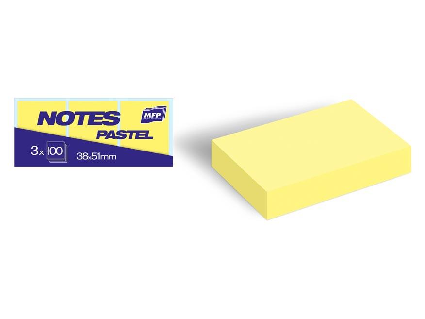 Bloček samolepiaci 38x51mm 3x100 listov žltý pastelový