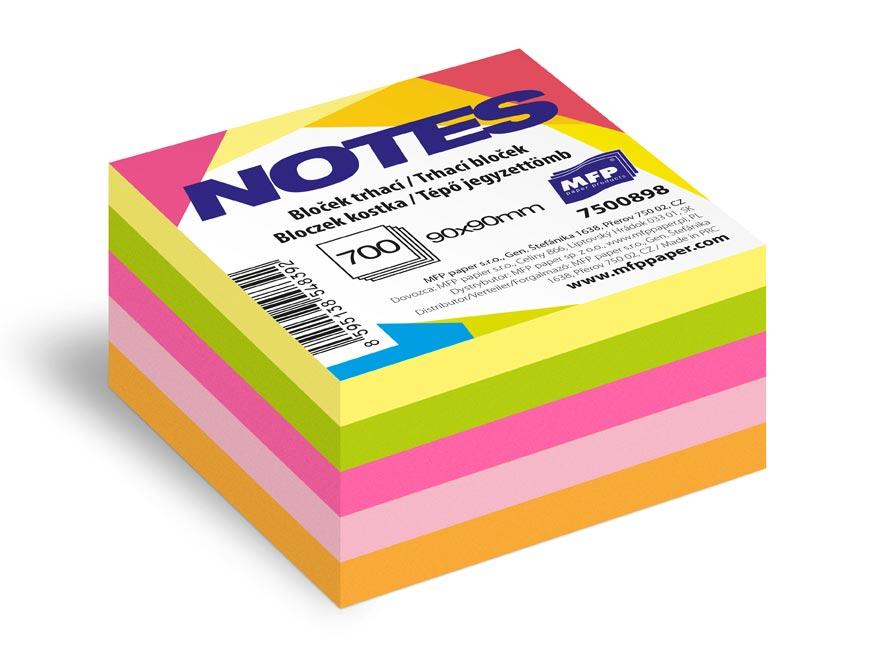 bloček trhací 90x90mm 700 listov mix 5 farieb neón 7500898