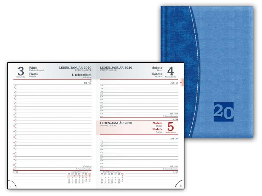 Diár 2020 D801 PU Blue-blue