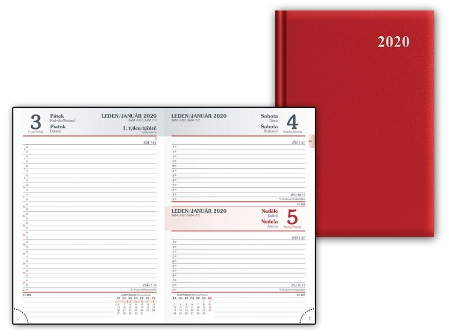 Diár 2020 D801 PVC Red