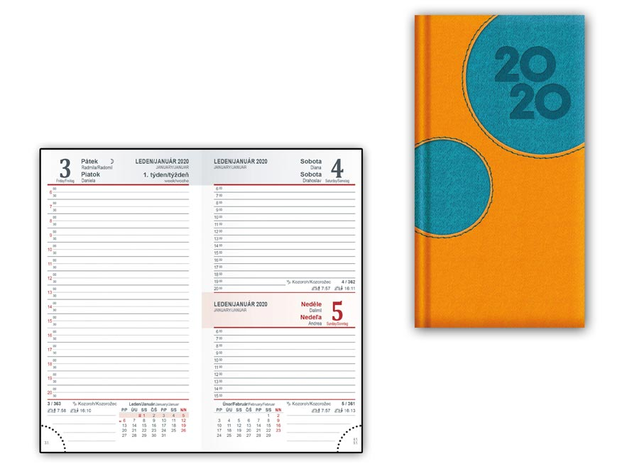 Diár 2020 D802 PU Orange-turqiose 90x170 mm