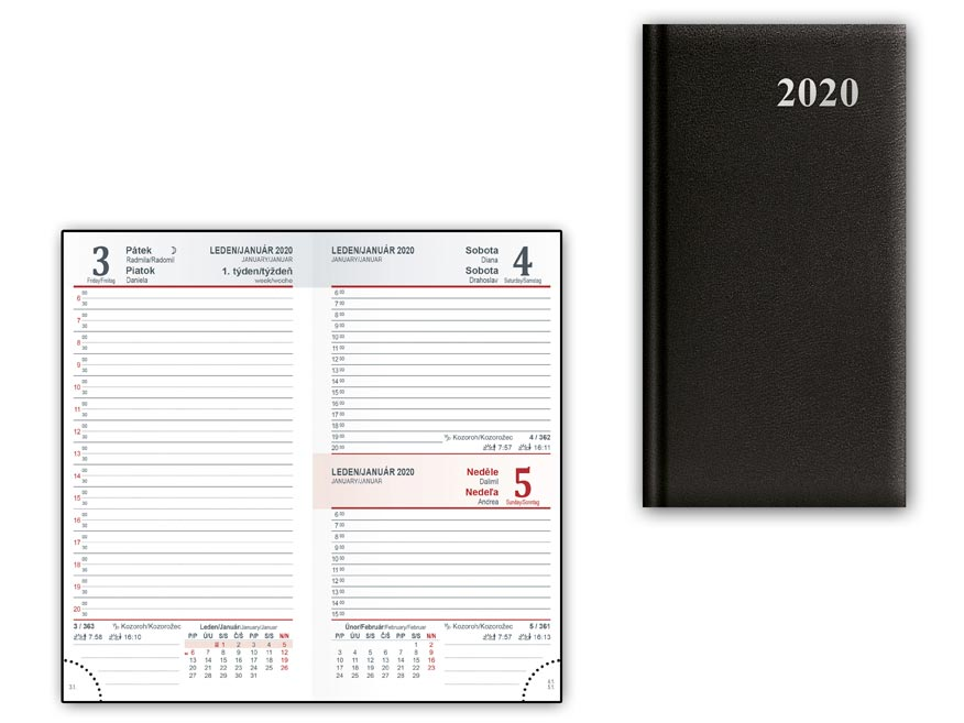 Diár 2020 D802 PVC Black 90x170 mm