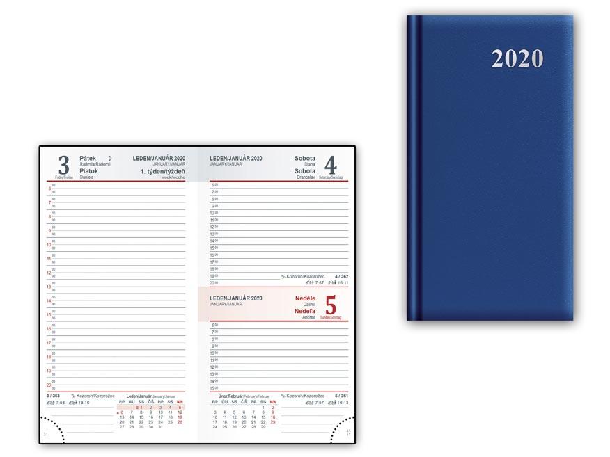 Diár 2020 D802 PVC Blue 90x170 mm