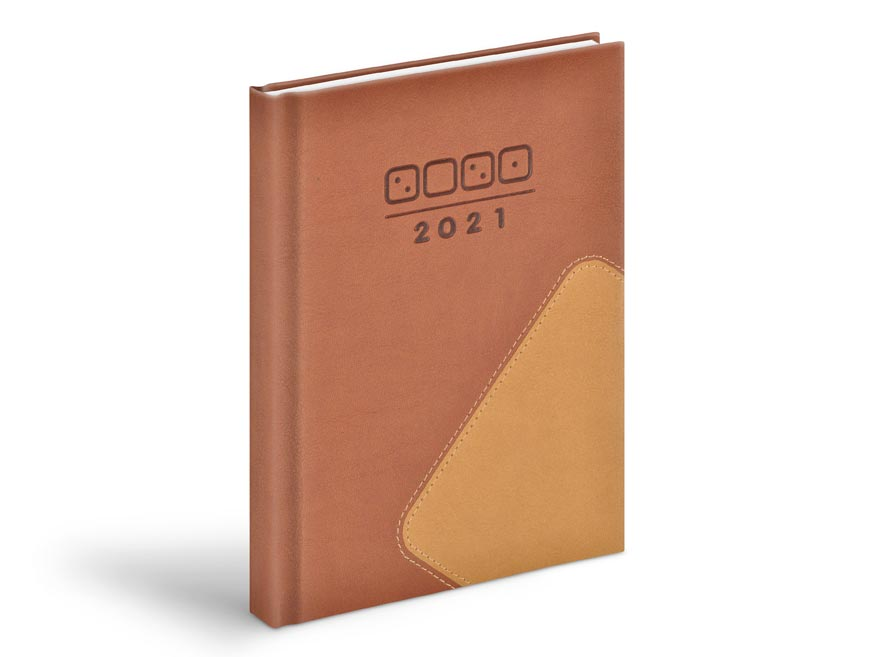 Diár 2021 D801 PU brown / light brown