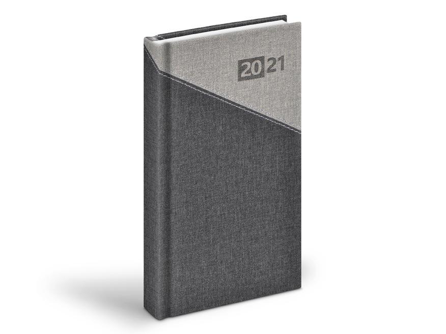 diár 2021 D802 PU grey / black 90x170 mm 7781002