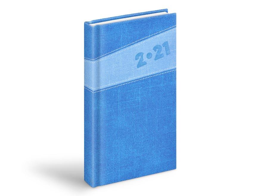 diár 2021 D802 PU dark blue / light blue 90x170 mm 7781003