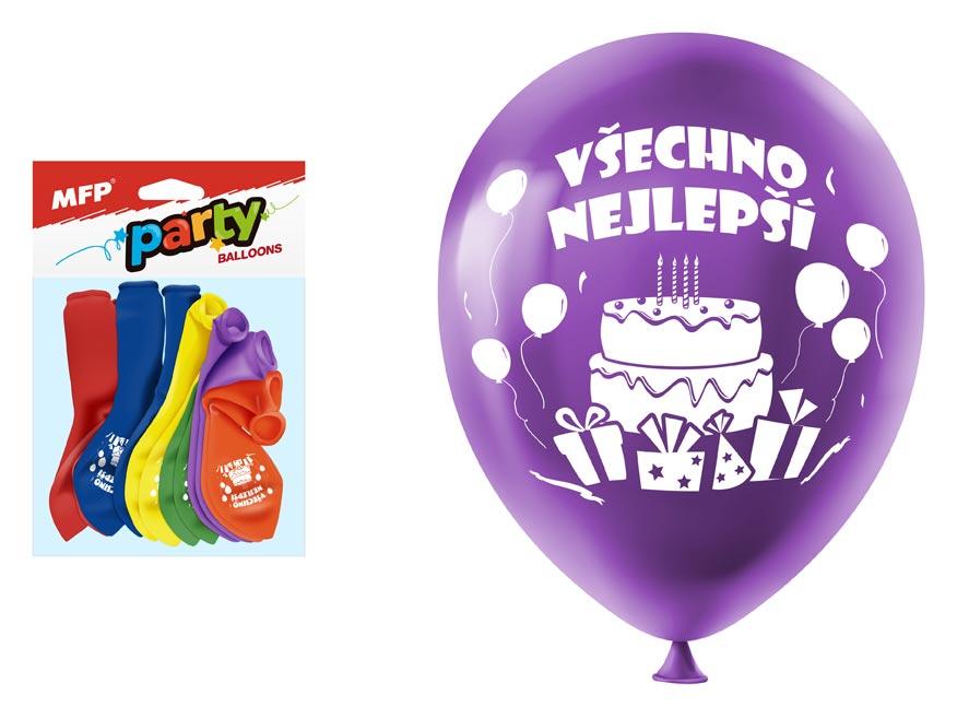 Balónik M balenie 12ks štandard 23cm všechno nejlepší mix