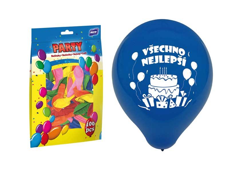 Balónik M štandard 23cm všechno nejlepší mix