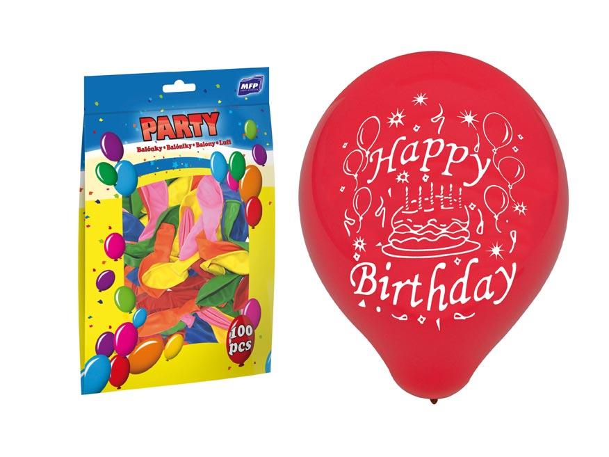 Balónik M štandard 23cm Happy Birthday mix