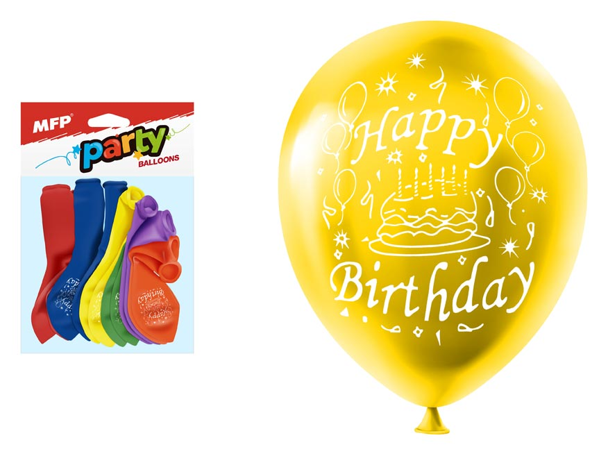 Balónik M balenie 12ks štandard 23cm Happy Birthday mix