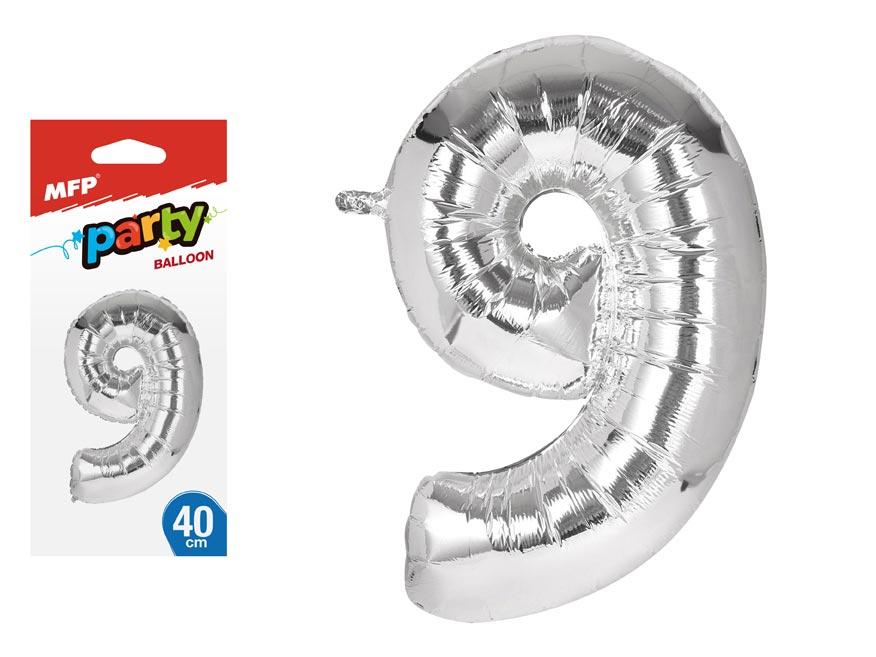 Balónik č. 9 nafukovací fóliový 40 cm
