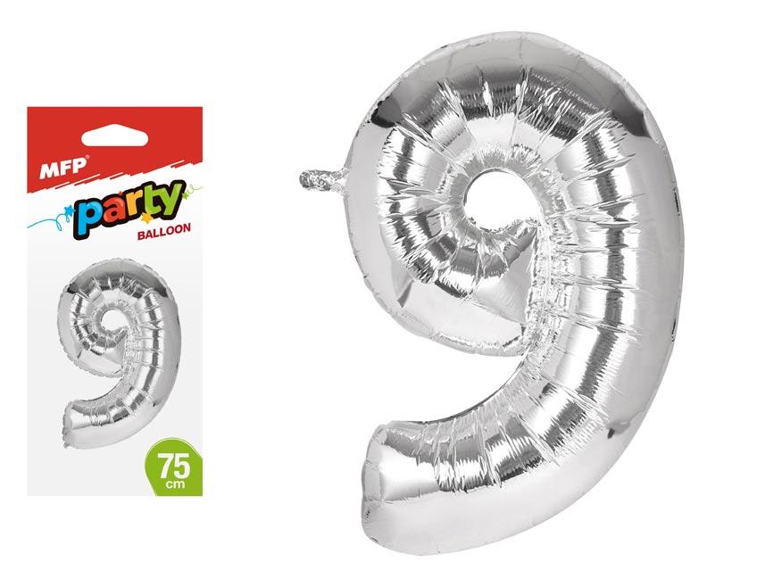 Balónik č. 9 nafukovací fóliový 75 cm
