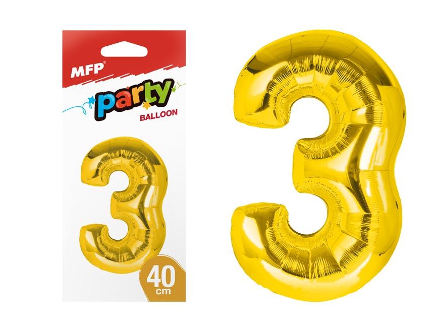 balónik č. 3 nafukovací fóliový 40 cm - zlatý 8000176