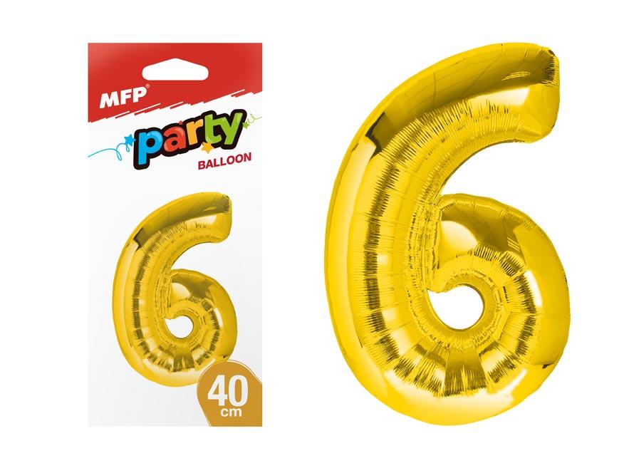 balónik č. 6 nafukovací fóliový 40 cm - zlatý 8000179