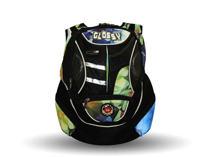 Batoh GLOSSY čierno-modrozelený 46cm ME081