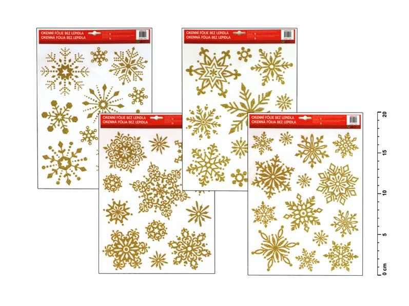 Fólia okenná 450 vločky zlaté 31x22cm