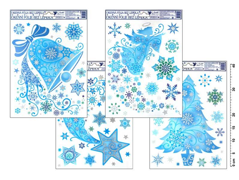 Fólia okenná 338 jemná ľadová zvon, kométa, anjel, strom 42x30cm