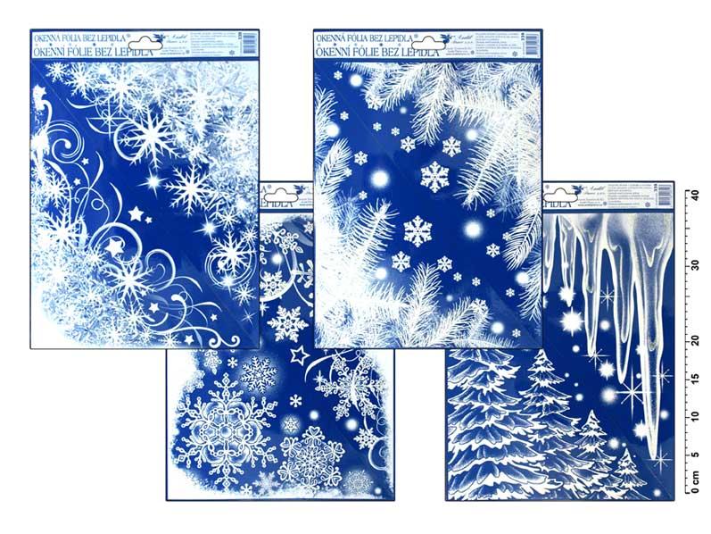 Fólia okenná 339 rohová zamrznutá s dúhovými glitrami cencúle,les,konáre 42x30cm