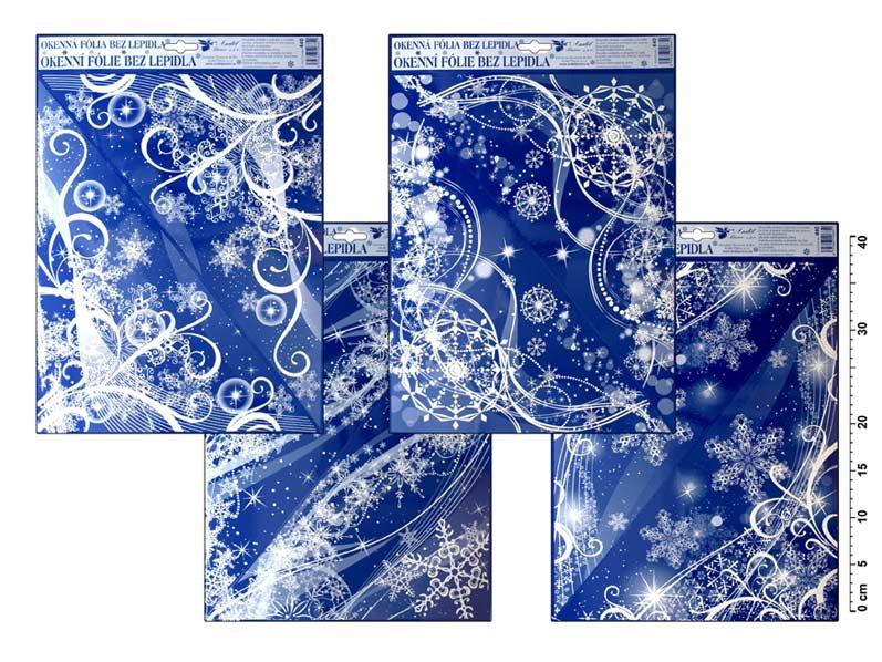 Anděl Okenná fólia vianočná 440 zafučaná rohová 42x30cm