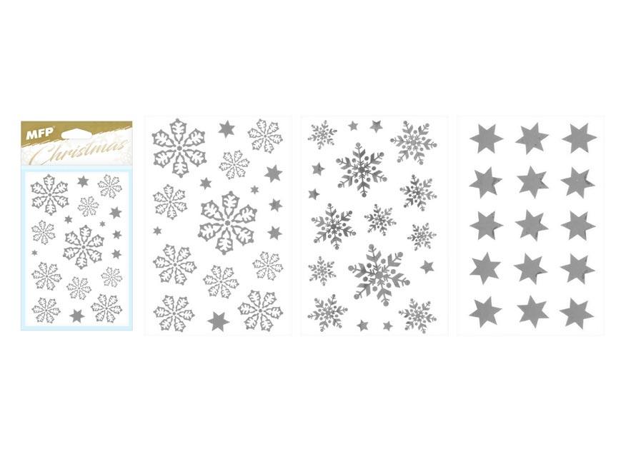 samolepka vianočná vločky 80x120mm strieborná 8882324