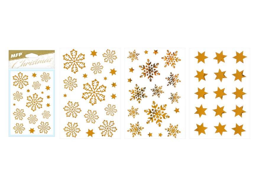 samolepka vianočná vločky 80x120mm zlatá 8882325