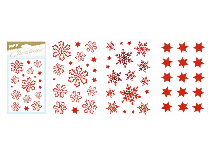 samolepka vianočná vločky  80x120mm červená 8882326