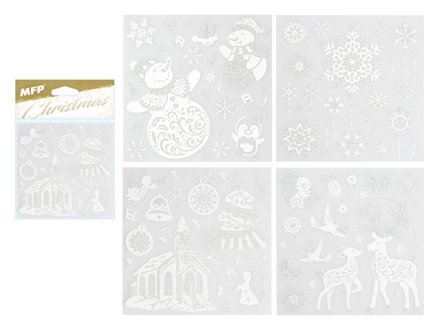 samolepka vianočná so strieborným glitrom 180x180mm 8882327