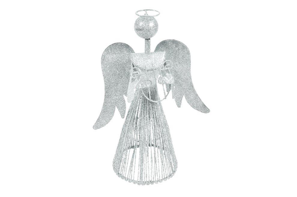 anjel 30cm strieborný metal s lyrou 8882343