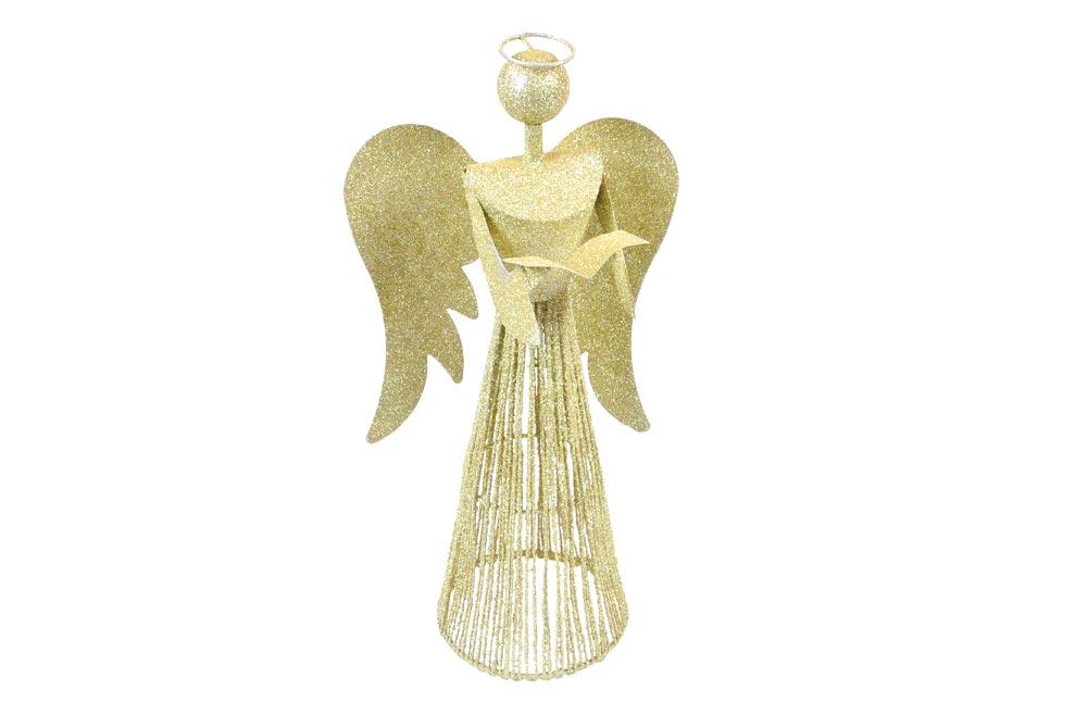 anjel 40cm zlatý metal s knihou 8882344