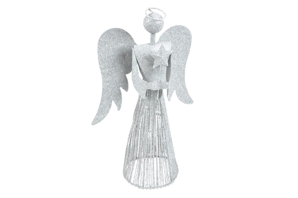anjel 40cm strieborný metal s hviezdou 8882346