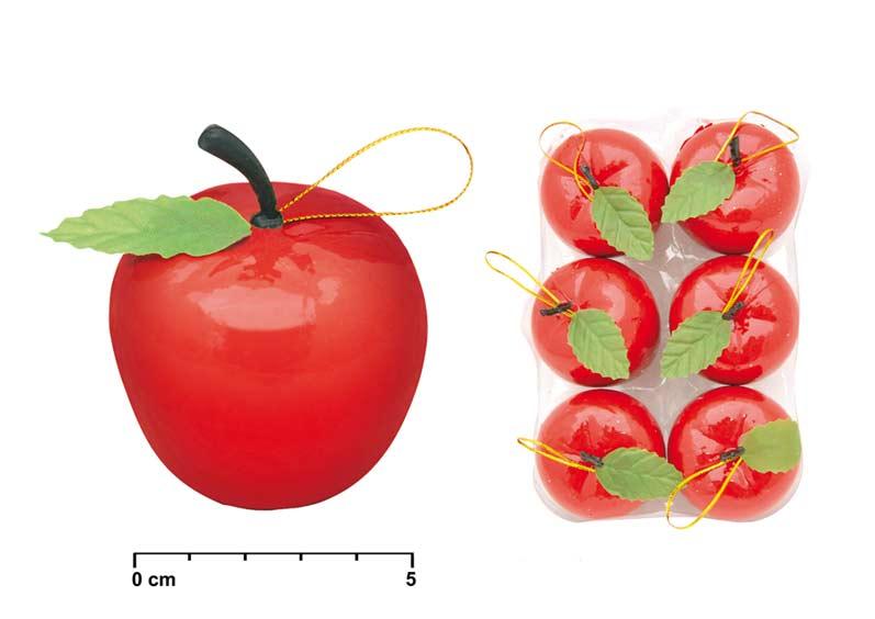 Jabĺčka červené 6ks 5,5cm OR017