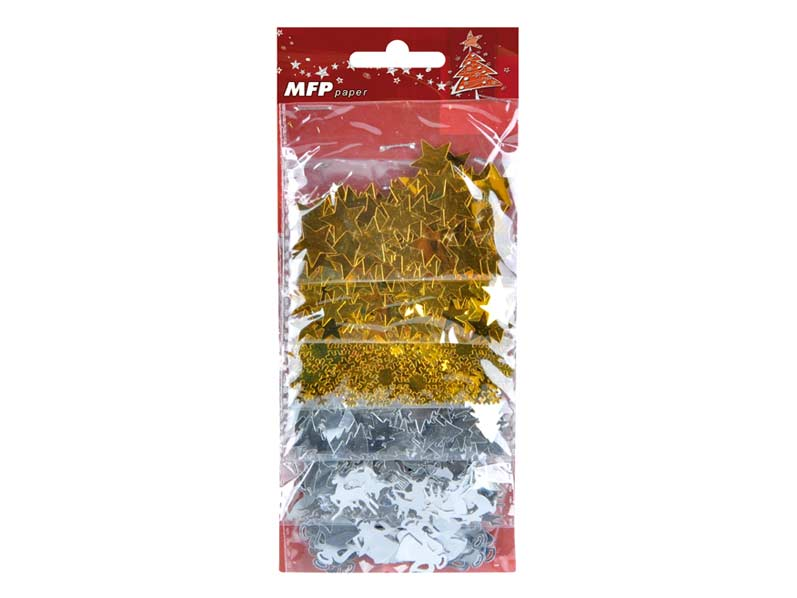 Konfety metalické 3 zlaté + 3 strieborné MIXcca 50g BST- 973 S/GO