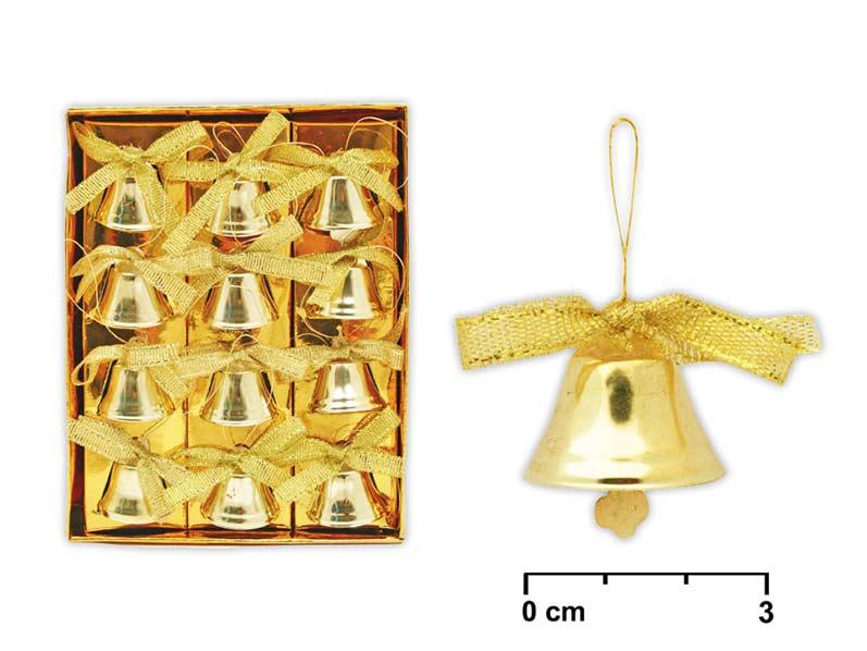 Zvončeky zlaté 12ks 2,5cm AY10- B002 GO