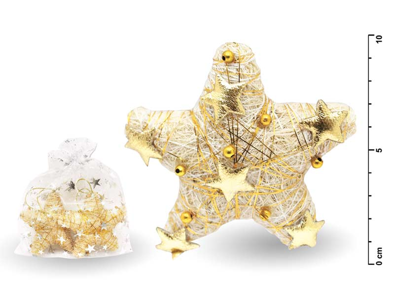 Hviezda 8cm 2ks zlatá 09- 312B