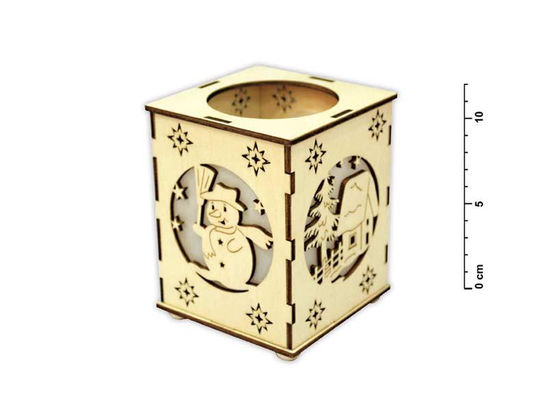 Svietnik snehuliak drevený LMX- 5568
