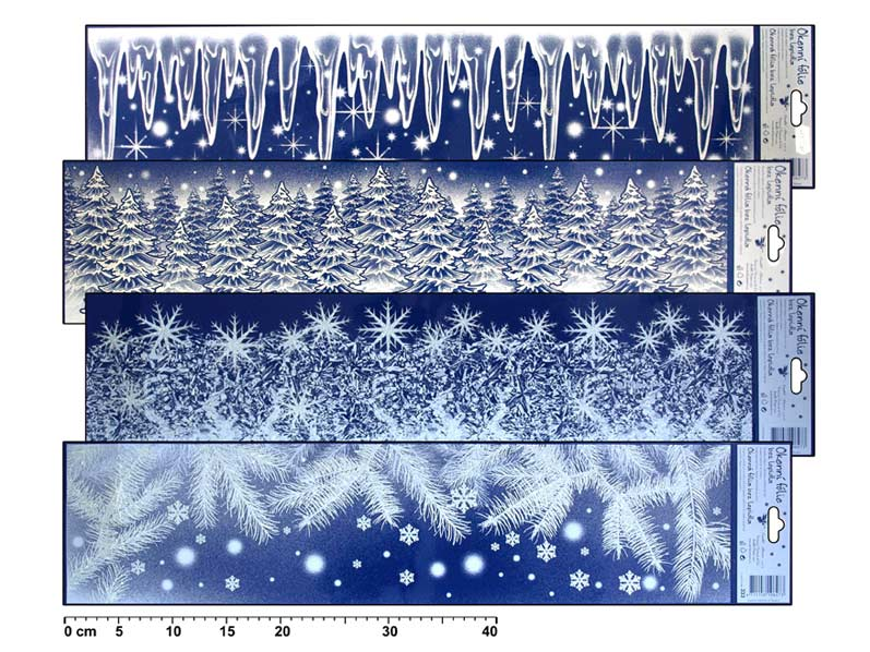 Fólia okenná 333 pruh ľadové kvety, cencúle s dúhovými glitrami 64x15cm